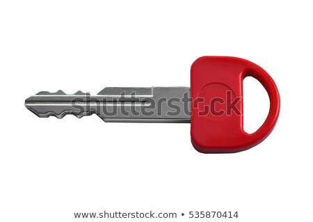 Foto stock: Vermelho · chave · isolado · branco · porta · fundo