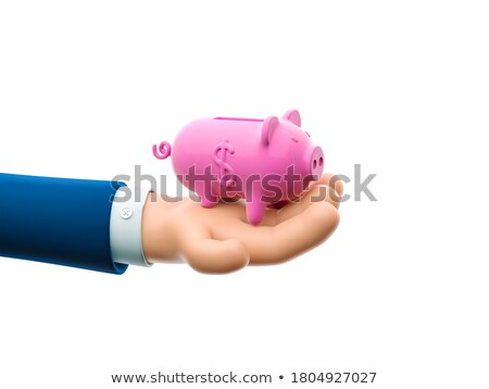 Ludzka ręka ceny wieprzowych uśmiechnięty odizolowany Zdjęcia stock © neirfy
