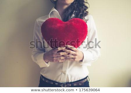 kadın · kalp · yastık · güzel · genç · kadın · kırmızı - stok fotoğraf © grafvision