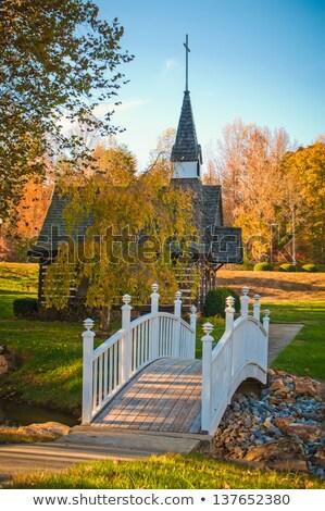 small chapel across the bridge in fall Stock photo © alex_grichenko