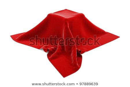 окна · покрытый · красный · ткань · оказывать · студию - Сток-фото © lenapix