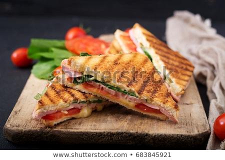 uzun · sandviç · jambon · peynir · domates - stok fotoğraf © artlens