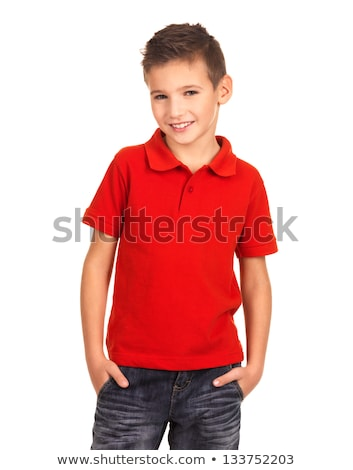 posing cute happy smiling boy with red shirt stock photo © meinzahn