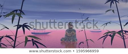 Будду · медитации · 3d · визуализации · оранжевый · ночь · воды - Сток-фото © elenarts