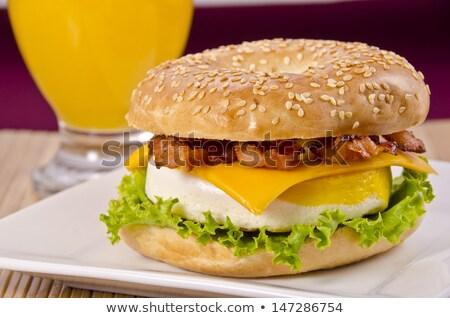 ベーグル ベーコン チーズ レタス オレンジジュース 務め ストックフォト © aladin66