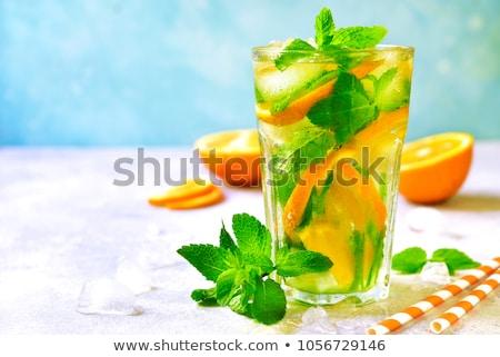 narancs · rész · menta · levél · izolált · fehér - stock fotó © tilo