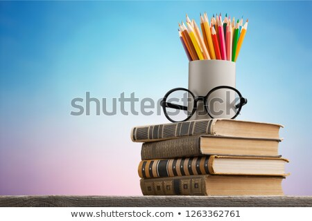 Stack of Books with Chalkboard Stock photo © frannyanne