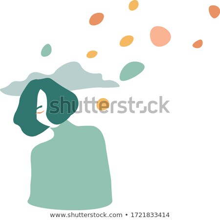 cartoon happy girl with thought bubble Stock photo © lineartestpilot