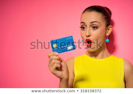 businesswoman with pink card Stock photo © Flareimage