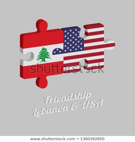 USA Libanon zászlók puzzle vektor kép Stock fotó © Istanbul2009