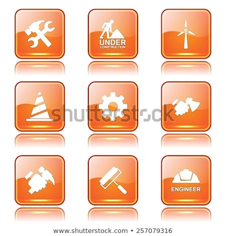 Inşaat araçları kare vektör turuncu ikon Stok fotoğraf © rizwanali3d