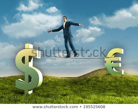 3d · man · équilibrage · dollar · euros · monnaie · corde - photo stock © nithin_abraham