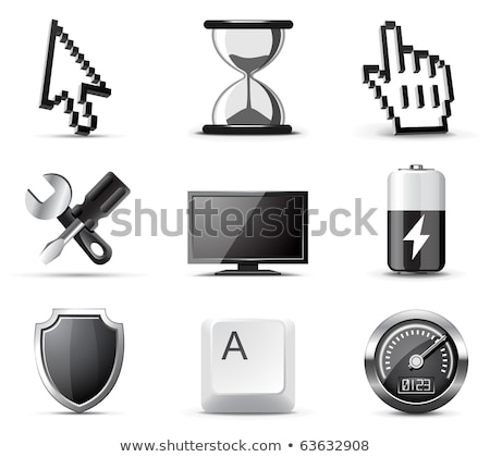 Pouvoir bouton LCD écran brillant métallique Photo stock © vipervxw