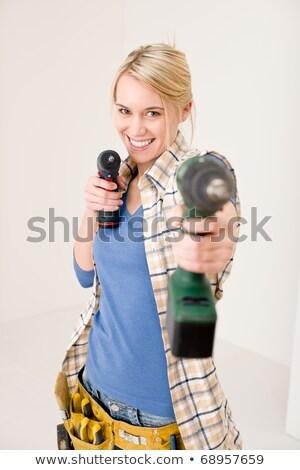 Mejoras para el hogar mujer batería destornillador feliz Foto stock © CandyboxPhoto