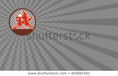 business card ice hockey goalie circle retro stock photo © patrimonio