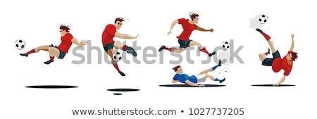 Piłka nożna gracze inny kolory ilustracja biały Zdjęcia stock © bluering