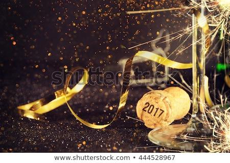 Felicitaciones feliz nuevos año botella champán Foto stock © m_pavlov