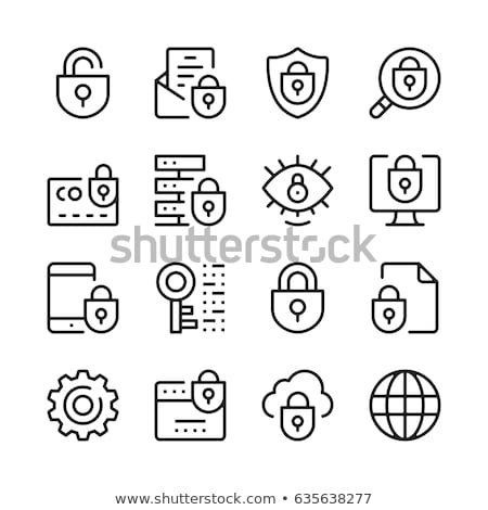 mail icon collection with padlock and key stock photo © adrian_n