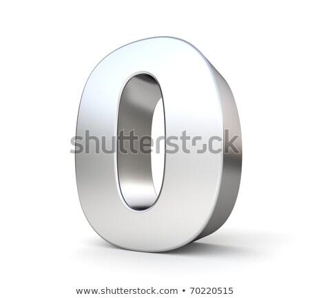 Сток-фото: металл · серебро · шрифт · числа · нулевой · 3D