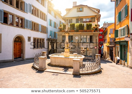 Zürich · óváros · Svájc · kilátás · folyó · napos - stock fotó © Estea