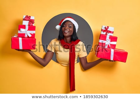 Stock photo: Young santa girl in christmas concept isolated on black
