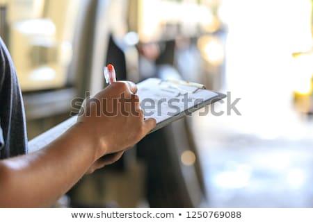 mécanicien · automobile · presse-papiers · homme · voiture · magasin · Auto - photo stock © dolgachov
