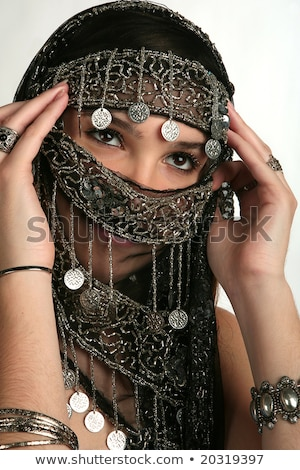 barriga · dançarina · cara · preto · véu · mulher - foto stock © gsermek
