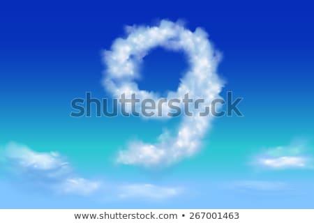 Number 9 cloud font symbol. White Alphabet sign nine on blue sky Stock photo © popaukropa