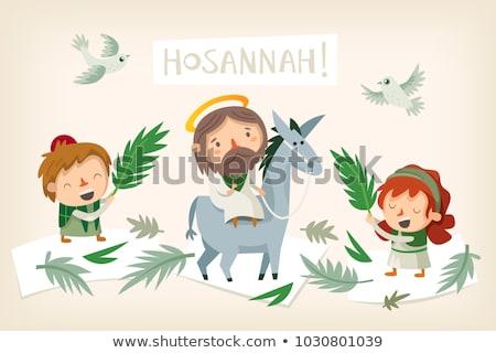 pálma · vektor · keresztény · ünnep · húsvét - stock fotó © olena