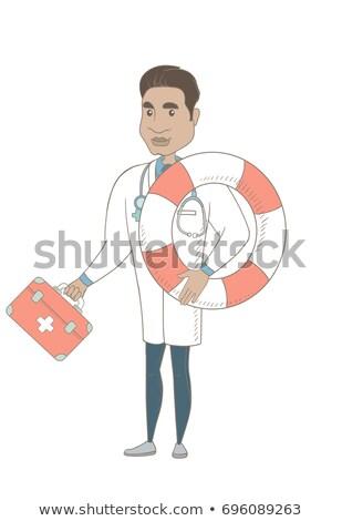 врач · первая · помощь · окна · азиатских · мужской · доктор - Сток-фото © rastudio