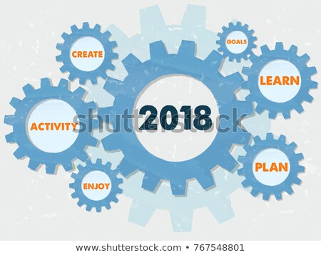 New Year 2018 And Business Conception Words In Grunge Gears Info Stockfoto © marinini
