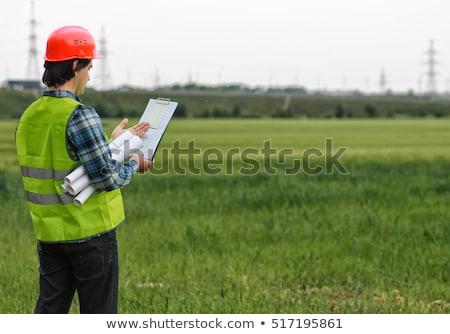 planları · alan · iş · kadın · adam · inşaat - stok fotoğraf © IS2