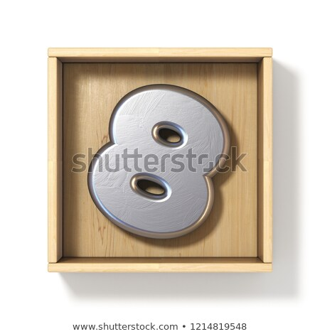 Silver metal number 8 EIGHT in wooden box 3D Stock photo © djmilic