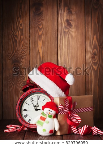 albero · di · natale · sveglia · regali · Natale · legno · neve - foto d'archivio © karandaev