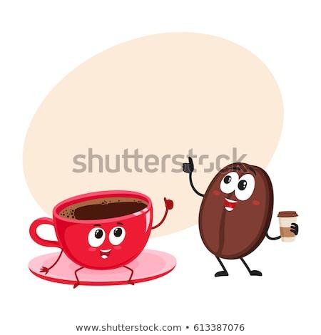 Stok fotoğraf: Sevimli · kahve · çekirdeği · karikatür · maskot · karakter · kahve · fincanı