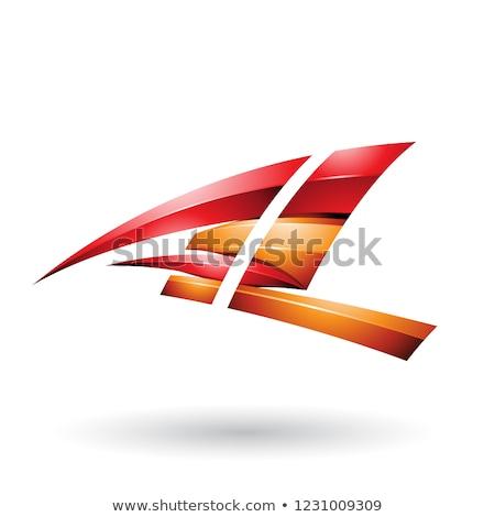 Czerwony pomarańczowy dynamiczny pływające litera l Zdjęcia stock © cidepix