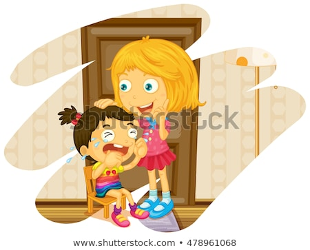 big sister and little girl crying stock photo © colematt