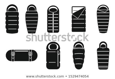 Kemping snem worek ikona turystyka przygoda Zdjęcia stock © JeksonGraphics