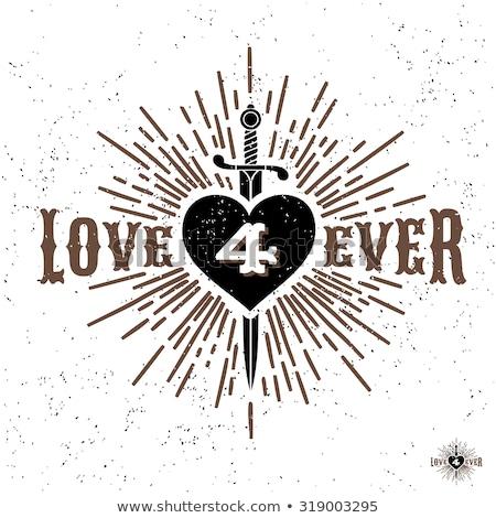 классический сердце кинжал украшение элемент плакат Сток-фото © robuart