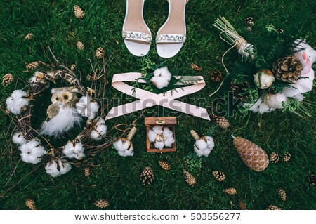 wedding bouquet and shoes, boutonniere, grass stock photo © ruslanshramko
