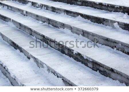Treppe Schritt bedeckt Eis Frost Himmel Stock foto © romvo