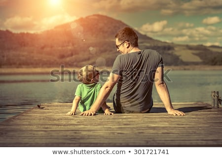 Boldogság apa fia móló napos idő napfény felhők Stock fotó © galitskaya