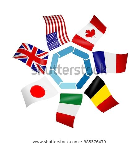 Deux drapeaux Canada Japon isolé Photo stock © MikhailMishchenko