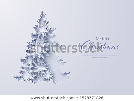 Merry Christmas Paper Cut White Snowflake Vector Stock photo © robuart