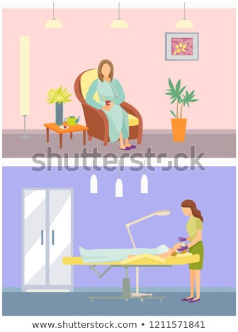 Cosmetician and Calm Woman Sitting in Chair Vector Stock photo © robuart
