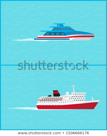 Cruise Liner and Yacht Leave Traces Water Sailing Stock photo © robuart