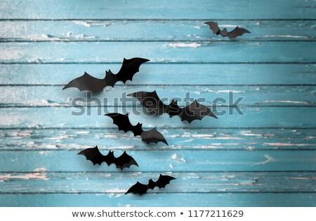 Fekete kék rongyos halloween dekoráció ijesztő Stock fotó © dolgachov