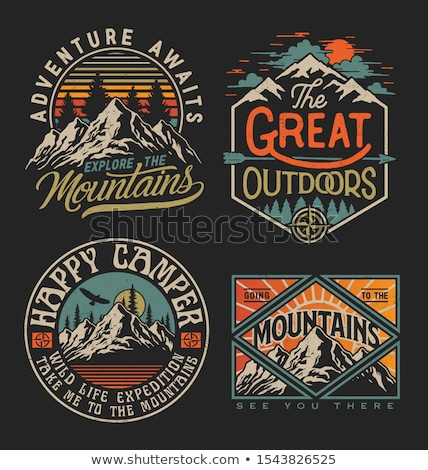Camping typography badge illustration design. Outdoor travel logo graphic with RV van trailer and qu Stock fotó © JeksonGraphics