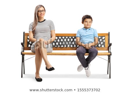 A Happy family with his blond boy isolated on white background Сток-фото © Lopolo