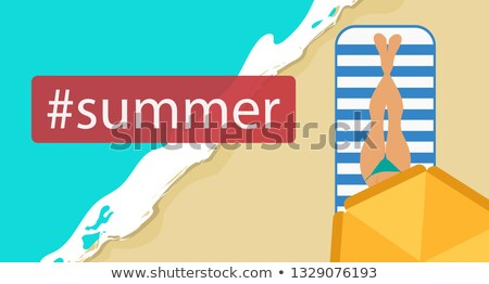 Hashtag summer concept flat vector illustration of woman sunbathing on the beach and relaxing under  Stock photo © makyzz